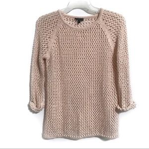 Topshop Knit Pink Crew Neck 1/4 Sleeve Sweater US4